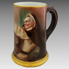 """Limoges H.P. Beer Stein with Monk Holding Wine Glass- artist signed """"WORTH"""""""