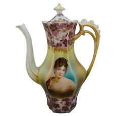 R.S. Prussia Madame Recamier Portrait Coffee Pot with White/Lavender Iridescent Décor