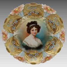 R.S. Prussia Lebrun Portrait Lily Mold Cake Plate with Gold and Blue Floral Decor