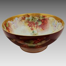 """Limoges H.P. 14 ¼"""" Center Punch Bowl with Currants By Pickard Artist """"LeRoy"""""""