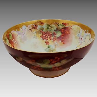 "Limoges H.P. 14 ¼"" Center Punch Bowl with Currants By Pickard Artist ""LeRoy"""
