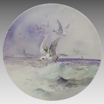 "Limoges H.P. 13 ¾"" Chop Plate w/ Seagulls and Lighthouse Scene"