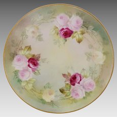 "DeLan & McGill Studio (N.J.) H.P. 9 ½"" Cake Plate with Pink, Red and Yellow Roses- artist signed ""A. Leroy"""