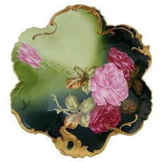 "Limoges H.P. 10 ½"" Curved Edge Bowl with Red and Pink Roses by artist ""Rousset"""