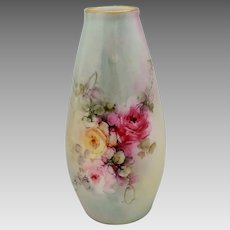 Hand Painted Vase with Red, Pink and Yellow Roses