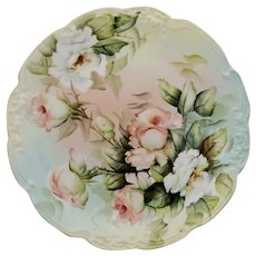 """Limoges H.P.11 ¾"""" Charger with Peach & White Roses"""