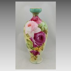 "T&V Limoges H.P. 9"" Red and Pink Roses Vase (N.A.D.W. Hand Painted)"