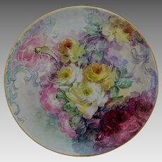 """Hand Painted 12 ¾"""" Red, Pink and Yellow Naturalistic Roses Charger"""