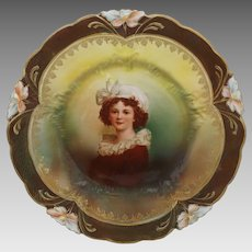 R.S. Prussia Lebrun Portrait Lily Mold Tiffany Finish Plate