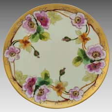 """Pickard H.P. 8 ½"""" Pink Roses Cake Plate by Otto Goess """"O. Goess"""""""