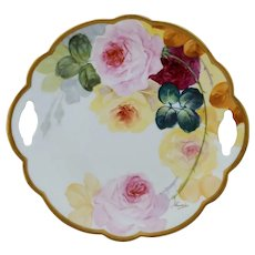 "Limoges H.P. 10 ½"" Cake Plate with Red, Pink and Yellow Roses- artist signed"