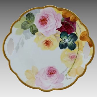 """Limoges H.P. 10 ½"""" Cake Plate with Red, Pink and Yellow Roses- artist signed"""