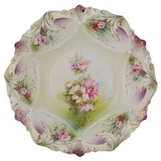 "R.S. Prussia 10 ¾"" Bowl with Roses & Purple"