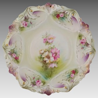"""R.S. Prussia 10 ¾"""" Bowl with Roses & Purple"""