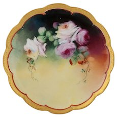 """Pickard H.P. 8 ½"""" Pink and White Naturalistic Roses Cake Plate"""