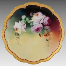"Pickard H.P. 8 ½"" Pink and White Naturalistic Roses Cake Plate"