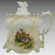 R.S. Prussia Cottage Scene Mustard Pot- Point & Clover Mold w/ Brown