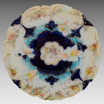 R.S. Prussia Cobalt Floral Cake Plate with Buff Rim