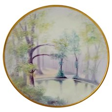 """Pickard 8.25"""" H.P. Vellum Scenic Water Landscape Plate by Curtis Marker"""