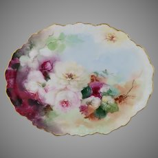 """Limoges H.P. Oval Tray with Pink, Red and White Naturalistic Roses by Pickard artist """"LOBA"""""""