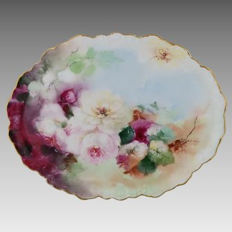 "Limoges H.P. Oval Tray with Pink, Red and White Naturalistic Roses by Pickard artist ""LOBA"""