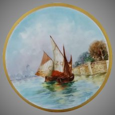 Austrian H.P. Tea Tile with Nautical Scenic Decor