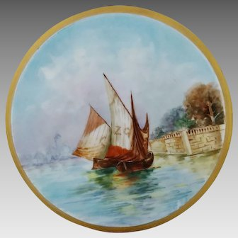 Austrian H.P. Tea Tile with Nautical Scenic Decor