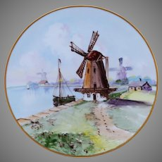 """Bavarian H.P. Cake Plate with Old Dutch Windmill Scene- artist signed """"Thompson"""""""