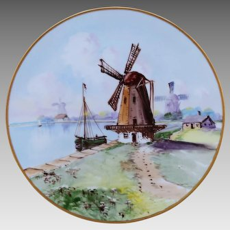 "Bavarian H.P. Cake Plate with Old Dutch Windmill Scene- artist signed ""Thompson"""