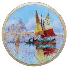 Pickard H.P. Venice Fishing Boats & Church of Santa Maria della Salute Tea Tile by artist Arthur Comyn (A.C.)