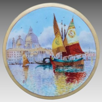 Pickard H.P. Venice Fishing Boats & Church of Santa Maria della Salute Tea Tile by artist Arthur Comyn (A.C.)
