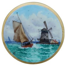 Pickard H.P. Dutch Windmill and Sailboat Tea Tile by artist Arthur Comyn (AC)