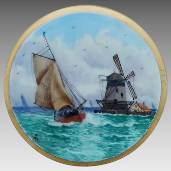 Pickard H.P. Dutch Windmill and Sailboat Tea Tile by artist Arthur Comyn (AC)