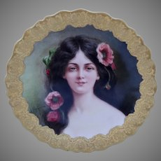 """Limoges/Tiffany & Co. H.P. """"Carmen"""" Portrait Plate by artist """"J. Soustre"""""""