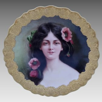 "Limoges/Tiffany & Co. H.P. ""Carmen"" Portrait Plate by artist ""J. Soustre"""