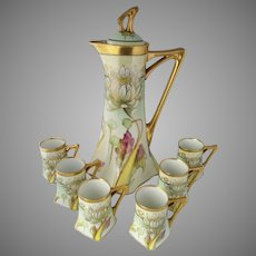 "Donath Studio H.P. Lotus Flower Chocolate Set w/ 6 Cups- artist signed ""W. Breidel"""