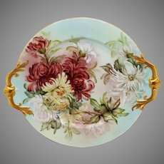 """Limoges H.P. 16"""" Handled Charger with Chrysanthemums- artist signed """"F.H. Morse"""""""