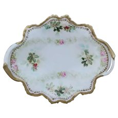 R.S. Prussia Handled Dish with Holly & Berry and Roses Decor