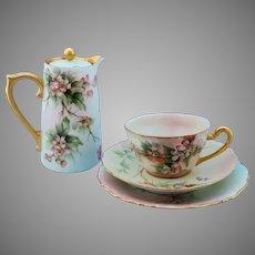 "Limoges H.P. Ester Miler Teapot and 6 Desert Sets with Cherry Blossom Decor- signed ""E. Miler"""