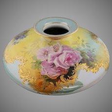 """Dresden/Limoges 12"""" H.P. Squat Vase with Roses & Light Teal Decor- artist signed"""