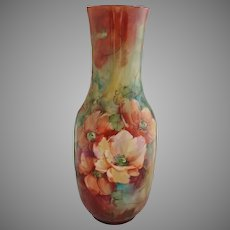 "Belleek H.P. 15"" Orange Poppies Vase- artist signed"