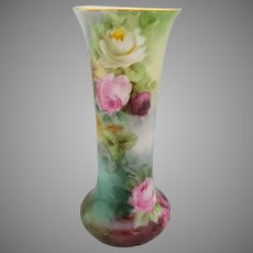 "Bavaria H.P. Vase with Red, Pink & White Roses- artist signed ""REED"""