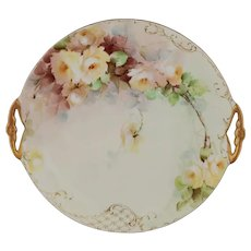"Limoges H.P. 11.75"" Plate with Yellow Naturalistic Roses- artist signed"