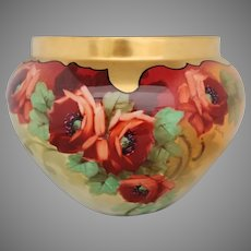 "Limoges Large H.P. Jardiniere with Poppies- artist signed ""Osborne"""