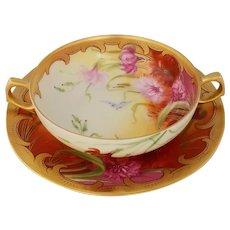 Pickard H.P. Carnation Garden Soup Bowl with Under Plate by artist Joseph Yeschek