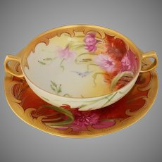 Pickard H.P. Carnation Garden Soup Bowl with Under Plate by artist Joseph Yeschek