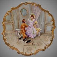 "15 ½"" Limoges H.P. Rococo Charger with Courting Scene- artist signed ""Dubois"""