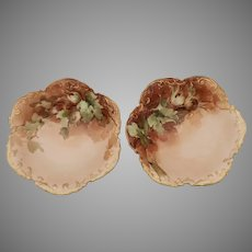 "George Leykauf H.P. Limoges Nut Dishes with Hazelnuts- artist signed ""G. Leykauf"""