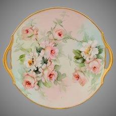 "Ester Miler Limoges H.P. 11"" Peach/Pink Roses Cake Plate- signed ""E. Miler"""
