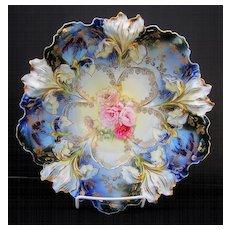 "R.S. Prussia 10 ½"" Iris Mold Cobalt Bowl w/ Pink Poppy décor"